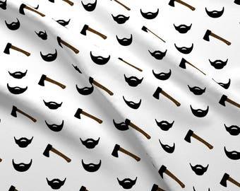 Black Beard Fabric - Black Beard By Littlearrowdesign - Woodland Beard Nursery Decor Cotton Fabric By The Yard With Spoonflower