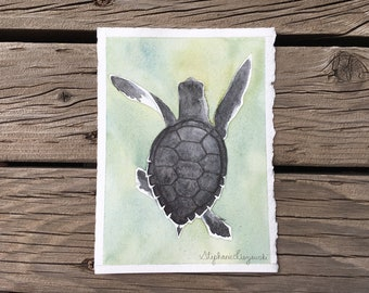 """Green Sea Turtle Hatchling Study  - Original Watercolor Painting - 5"""" x 7"""""""