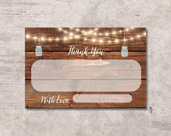 Country Mason Jar Thank You Card Printable, rustic wood baby shower thanks card, instant download digital file, baby shower card