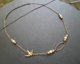 head band 'bird and Pearl glass'