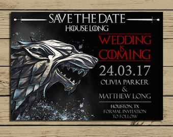 Game of Thrones Wedding Save The Date Card * Game of Thrones Wedding Invitation * Wedding Is Coming Invitations * Personalized * YOU PRINT