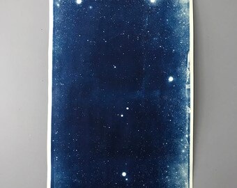 Large Linen Mounted Star Field Cyanotype Signed