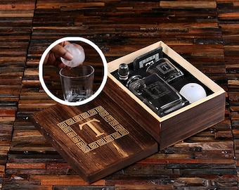 Whiskey Ball, Decanter, Whiskey Glass, Slate Coaster (Ice Ball Maker Mold), Wood Box Groomsmen Gift Father's Personalized Gift Best Man