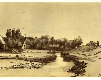 FARM BUILDINGS at the DIJK by Rembrandt, Vintage 9 x 12 Book Art Print, Sepia Drawing