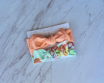 New baby bows Peach polka dot baby head wrap Bright floral infant headband Toddler bow set Knotted head band 3-6 month hair accessory