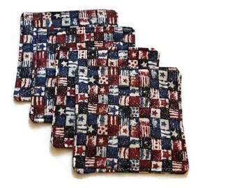 Rot weiß blau Untersetzer, patriotische Untersetzer Set von 4, Veteranen