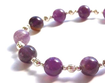 Silver Stretch Beaded Bracelet, With Lavender and Purple Amethyst Gemstones