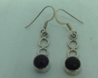 Long Amethyst and 925 Silver Earrings