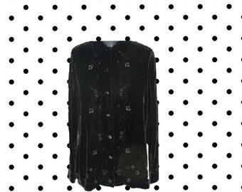 Black velvet blouse