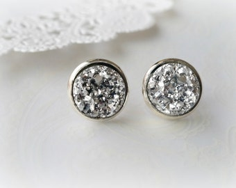 Silver Faux Druzy Stud Earrings