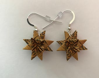 Moravian Star Earrings—Leopard