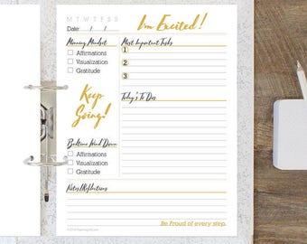 Daily Mindset & Task Sheet - Goal Setting Planner Sheet, Productivity Planner Printable, Printable Desk Calendar, Daily Gratitute Journal