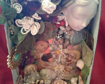 Virgin Mary Shrine, Altar, Shadow Box, One of a Kind Original Artwork - Repurposed, Recycled, Found Object Mosaic - Handmade Ex Voto