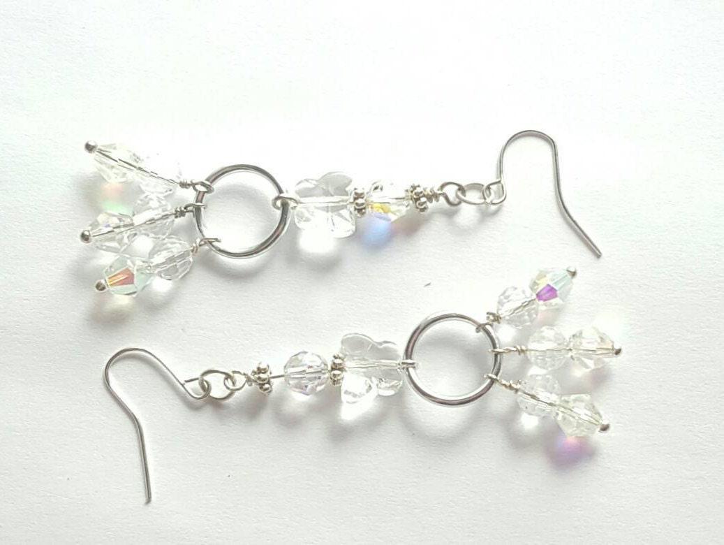 Crystal Butterfly earrings Swarovski crystal Butterfly earrings Clear crystal Butterfly earrings Butterfly dangle earrings Bridal earrings