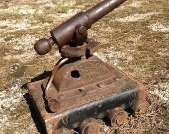 Steampunk Industrial Style Signal Cannon Made From  Reclaimed Vintage Materials - Black Powder Cannon