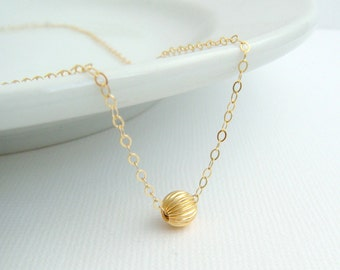 small gold bead necklace. 14k 14 k yellow gold filled ball. corrugated. round tiny dainty simple everyday delicate jewelry gift for her 6 mm