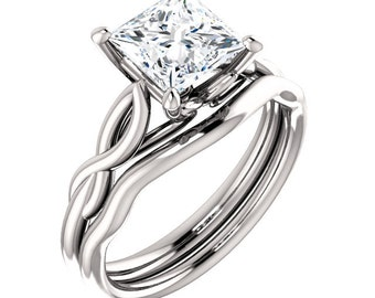 1.50ct Forever One Princess Cut Moissanite Engagement Ring and Matching Wedding Band