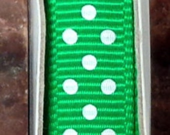 "2 Yards 3/8"" Swiss Dots - Emerald - Kelly Green with White Swiss Grosgrain Print Ribbon"