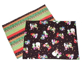Snowmen Placemats, Reversible Christmas Placemats, Holiday Placemats