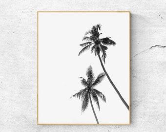 Palm Trees Print, Palm Print, Tropical Print, Scandinavian Print, Palm Leaf Print, Printable Wall Art, Black And White art, Tropical Decor