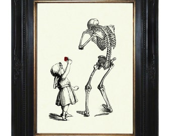 Halloween Girl Art Print sad Skeleton Reaper Death Red Rose - Victorian Steampunk Gothic Art Print