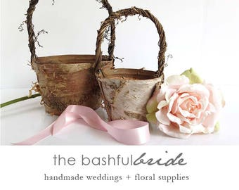 Two sizes, bohemian wedding, rustic flower girl basket, bohemian wedding decor, flower girl basket birch, farmhouse chic, barn wedding,