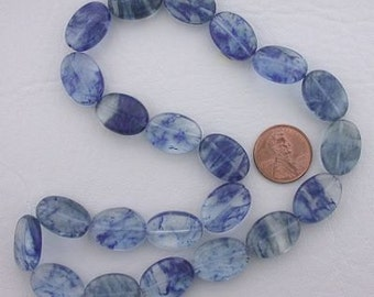 18x13 oval gemstone blueberry quartz beads