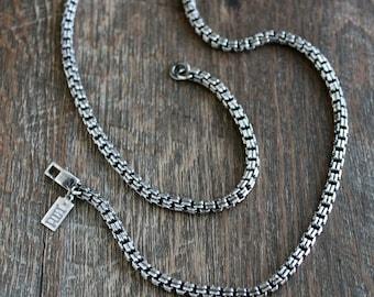 Men's Venetian Double Box Chain Necklace, Oxidized Sterling Silver