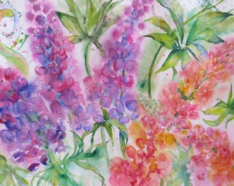 original lupine watercolor painting, wall decor, flower art, flower garden painting, abstract floral art, home decor, abstract lupine art