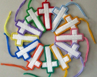 2 Cross Decorations plastic canvas bookmark