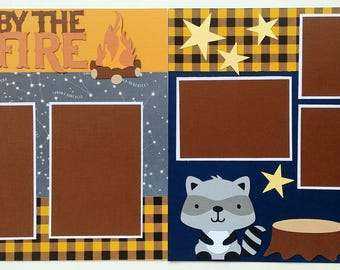 Premade scrapbook page - Camping scrapbook page - 12x12 scrapbook page - Scrapbook page campfire - Summer scrapbook - Scrapbook page camping