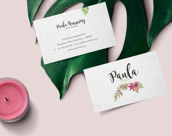 Business Card Design · Premade Business Card Template · Romantic Business Card · Floral Pink Business Card, Watercolor Business Card