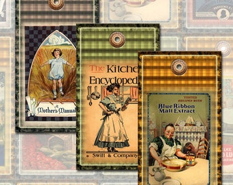 CooK BooK Covers-CHaRMiNG ViNtAgE Kitchen ArT Hang/Gift Tags/Cards-INSTaNT DOWNLoAD-Printable Collage Sheet JPG Digital File