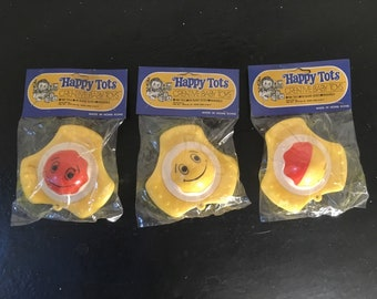 Happy Tots 1960s Toy Rattles Hanging Decorations with Faces Yellow Red