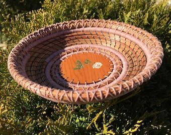 Victorian Rose pine needle basket 18-3