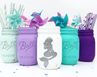 Mermaid Mason Jar Set, Mermaid, Nursery, Girls, Birthday, Mermaid Centerpieces, Mermaid Party, Baby Shower, Gift, Ariel, Under the Sea