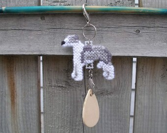 Italian Greyhound crate tag - dog kennel art or hang anywhere decor hand stitched, Magnet option