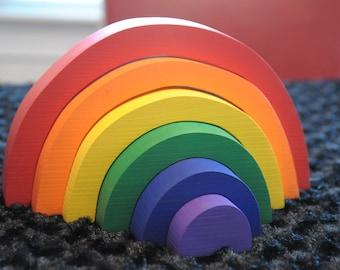 Rainbow Stacker, Wooden Toy / Waldorf Montessori Toys /Puzzle