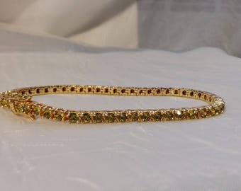 """Tennis bracelet gold-tone metal with yellow crystal stones 7.5"""""""