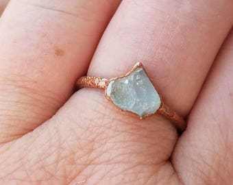 Aquamarine Ring Copper Electroformed Ring Size 6