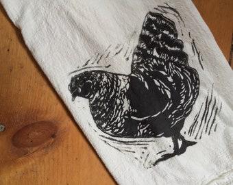 New Design! wood block print chicken tea towel by color.joy