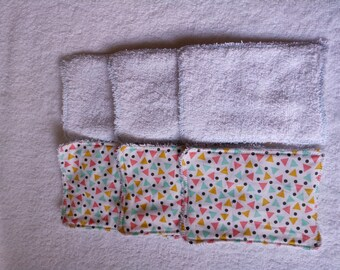 6 washable wipes patterned triangles white background 13 x 9 cm