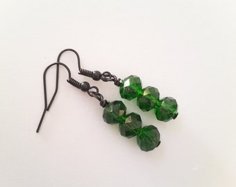 Emerald Green Crystals, Triple Stacked Drops . Earrings