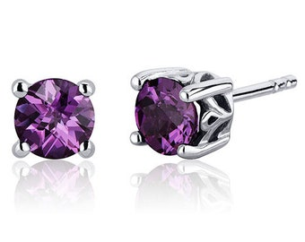 Scroll Design 2.50 Carats Alexandrite Round Cut Stud Earrings in Sterling Silver