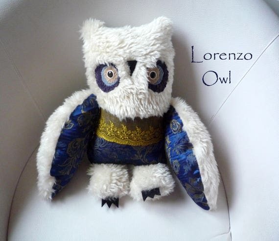 Lorenzo  owl  ,  soft art  creature toy  textile doll by   Wassupbrothers,  , retro owl, recycled boho buho bohemian interior home decor