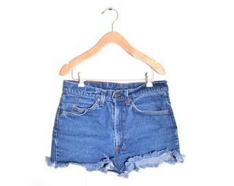 """70s Levis High Waisted Orange Tab Medium Wash Denim Blue Jean Shorts 31"""" Waist"""