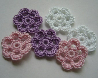 Mini Six Crocheted Flowers - White, Pink and Lilac - Crocheted Appliques - Crocheted Embellishments
