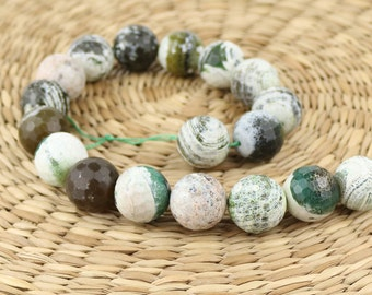 18 mm agate beads •Green agate beads•Faceted Agate gemstone •Natural agate beads•Gemstone beads•Facet green beads • Green agate gemstone