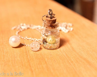 Floating Treasure in a bottle - pendant necklace - silver