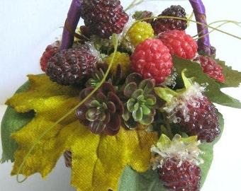 Fall Decor Fruit Arrangement Fruit Basket Faux Raspberry Berry Basket Rustic Cottage Country Garden Decorating